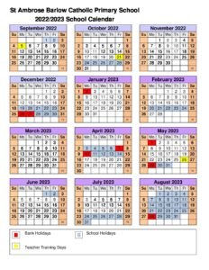Primary Calendar 2022.Academic Calendar 2022 2023 St Ambrose Barlow Catholic Primary School