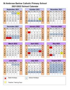 2022 Catholic Calendar.Calendar 2021 2022 St Ambrose Barlow Catholic Primary School
