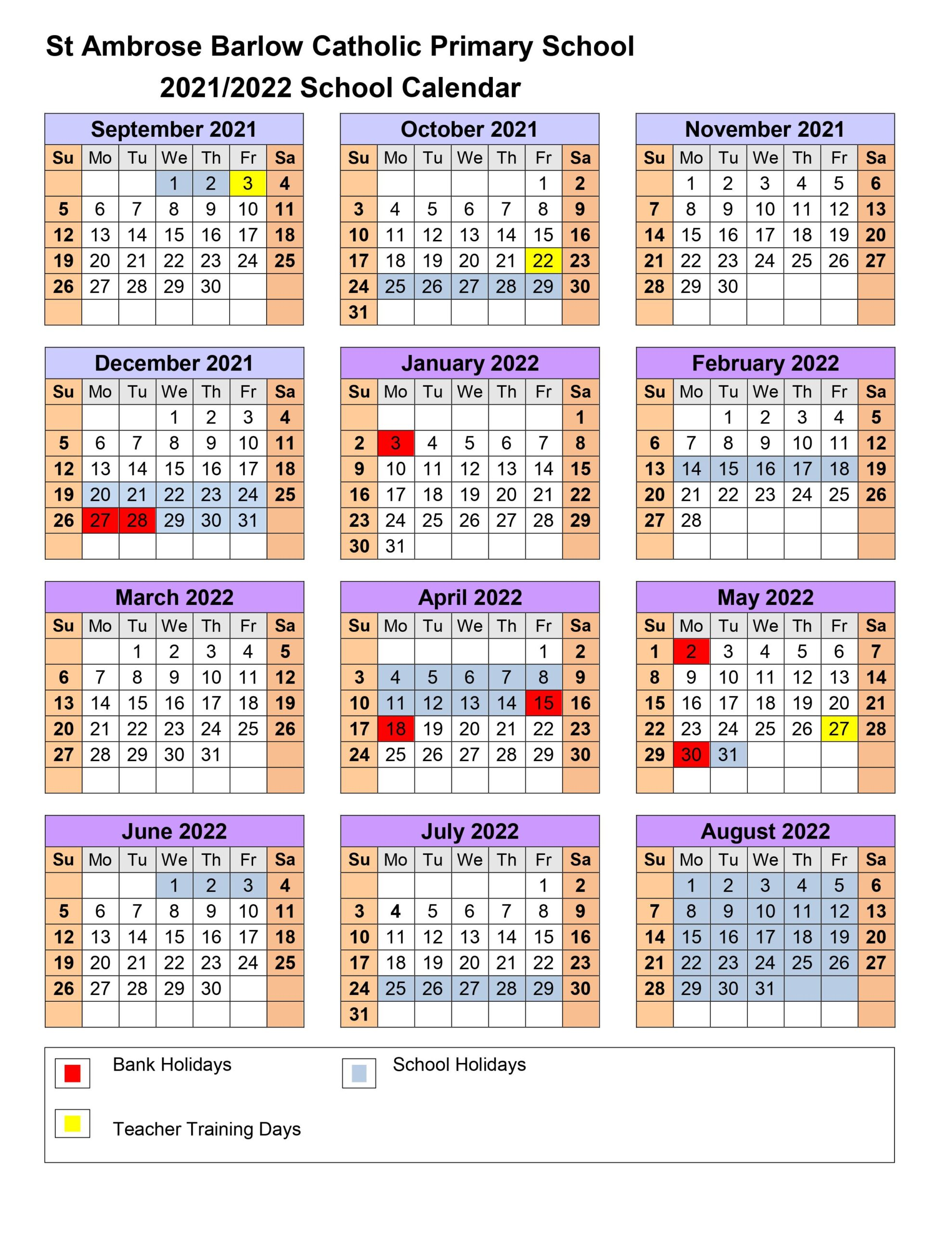Primary Calendar 2022.Calendar 2021 2022 St Ambrose Barlow Catholic Primary School